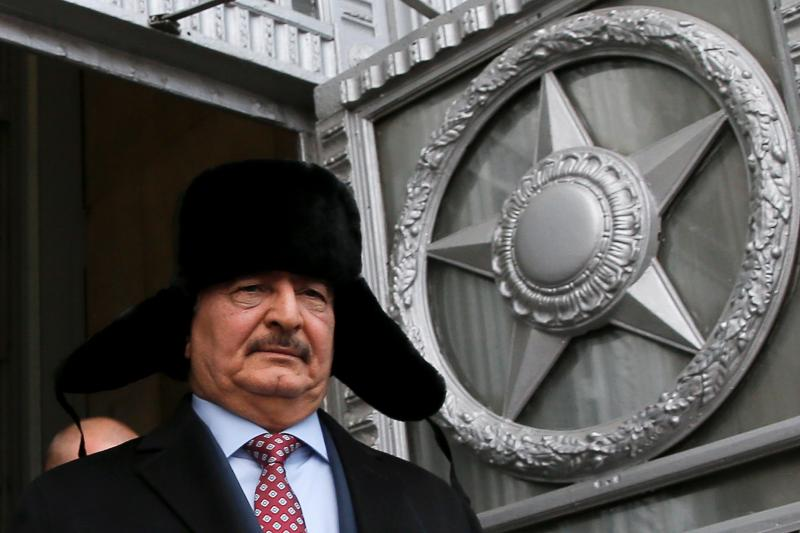 General Khalifa Haftar, commander in the Libyan National Army (LNA), leaves after a meeting with Russian Foreign Minister Sergei Lavrov in Moscow, Russia, November 29, 2016.
