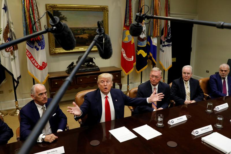 U.S. President Donald Trump speaks during his meeting with health insurance company CEOs at the White House in Washington, February 27, 2017.