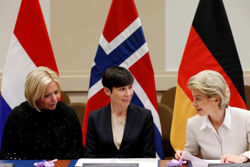 The defense ministers of (left to right) the Netherlands, Norway, and Germany at NATO headquarters in Brussels, February 2017.