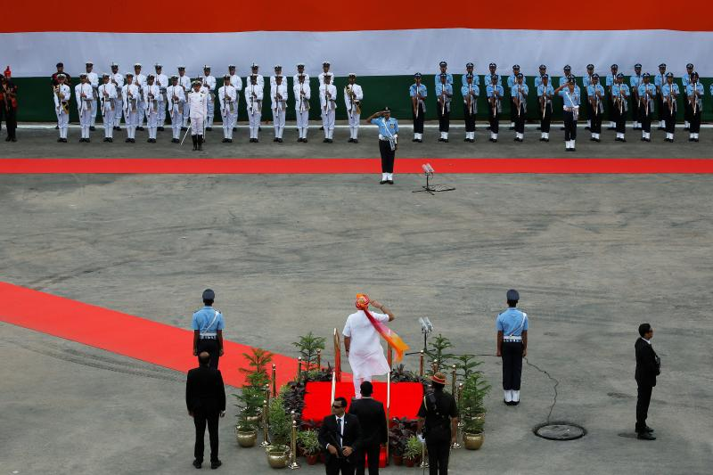 Indian Prime Minister Narendra Modi inspecting an honor guard in Delhi, India, August 2016.