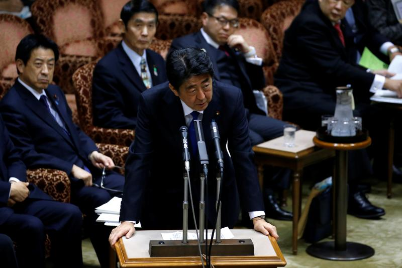 Japanese Prime Minister Shinzo Abe in the Diet after reports of a North Korean missile test, Tokyo, March 2017.