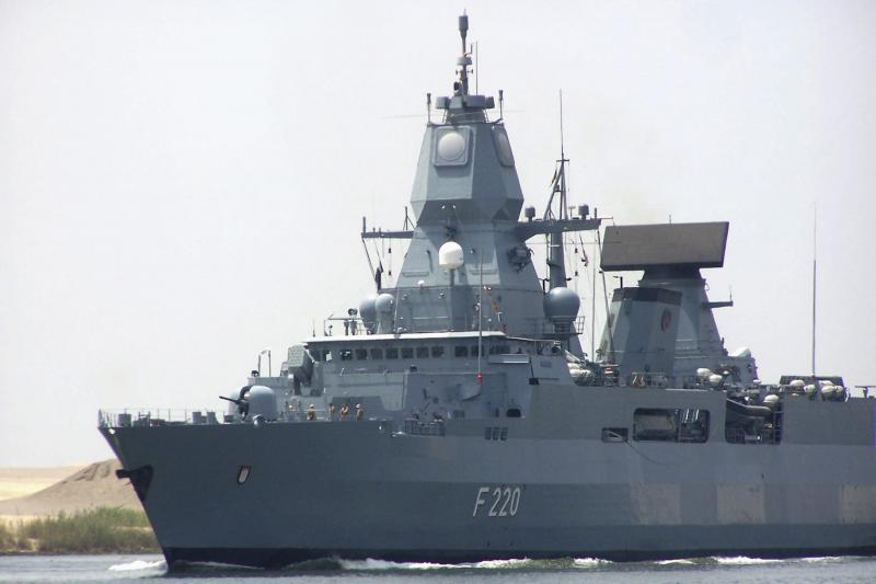 A German destroyer in the Suez Canal, June 2013.