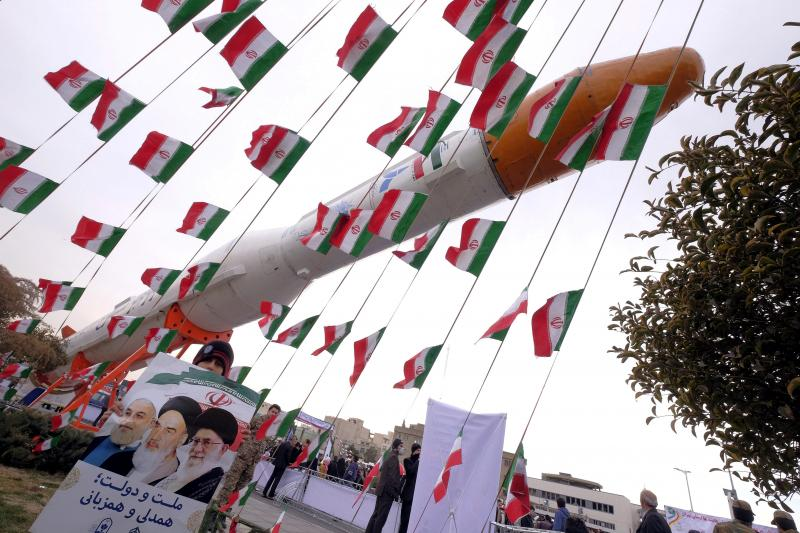 A model of Simorgh satellite-carrier rocket during a ceremony marking the 37th anniversary of the Islamic Revolution, in Tehran February 11, 2016.