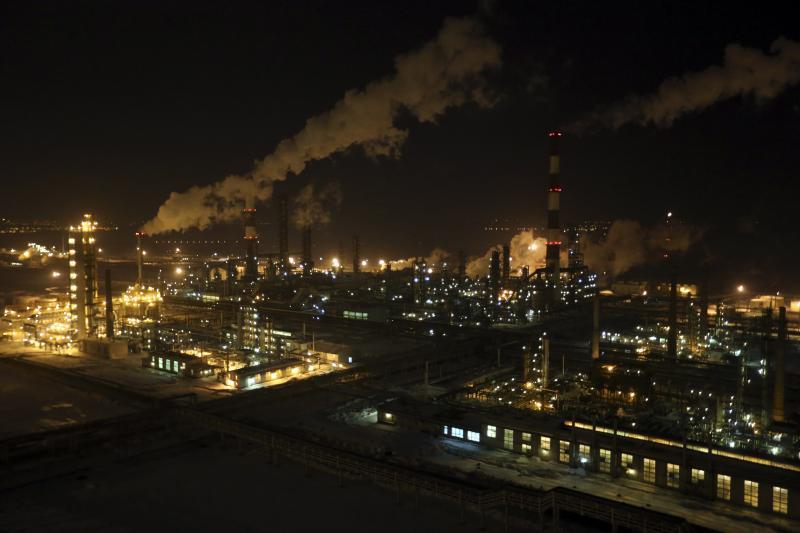 An oil refinery in Ufa, Russia, January 2015.