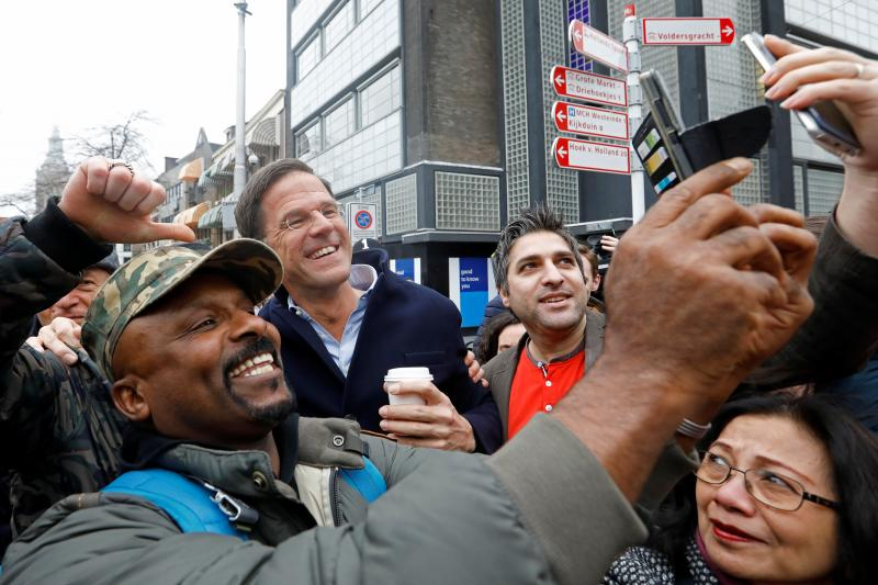 Dutch Prime Minister Mark Rutte campaigning in The Hague, March 2017.