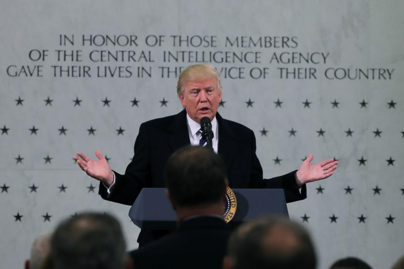 U.S. President Donald Trump at the Central Intelligence Agency in Langley, Virginia, United States, January 2017.