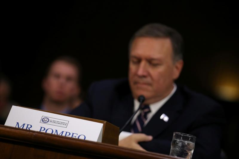 Mike Pompeo testifies before a Senate Intelligence hearing on his nomination to become director of the CIA, Washington, January 2017.
