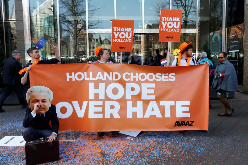 Protestors outside of the Dutch Parliament, March 2017.