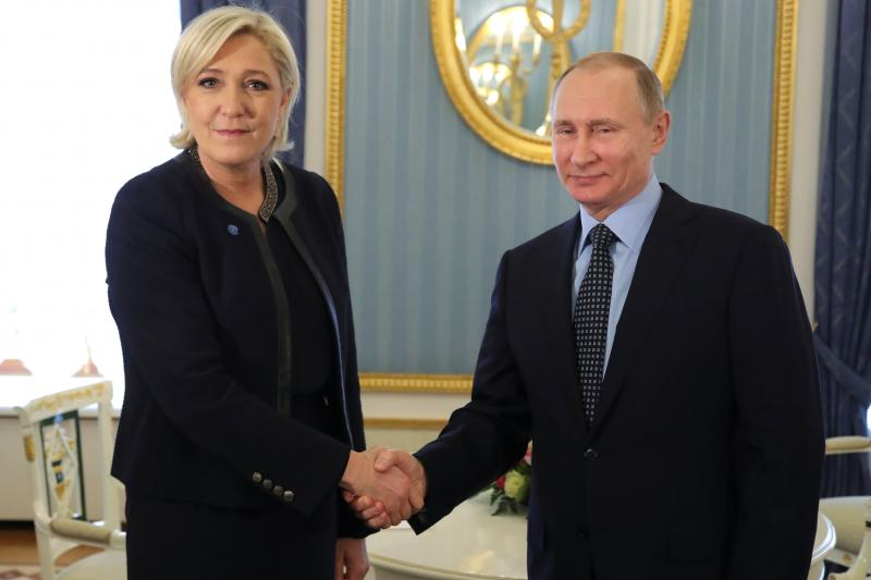National Front leader Marine Le Pen and Russian President Vladimir Putin in the Kremlin, March 2017.