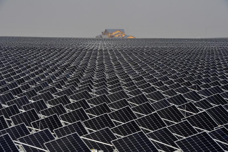 Solar panels in Yinchuan, Ningxia Hui Autonomous Region, April 2017.