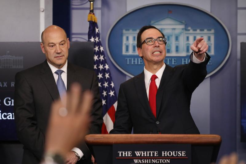National Economic Director Gary Cohn and Mnuchin unveil the Trump administration's tax plan in the White House briefing room, Washington, D.C., April 2017.