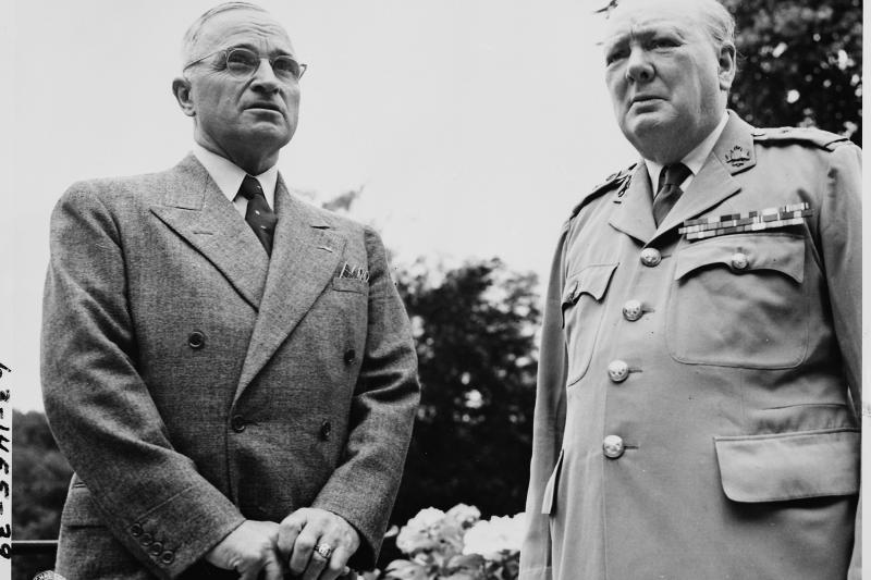 Truman and Churchill at the Potsdam Conference in Potsdam, Germany, July 1945.