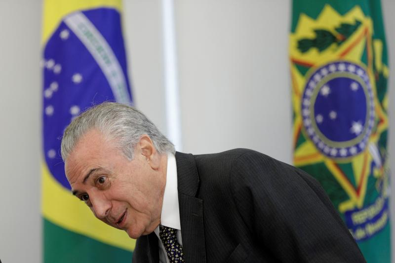 Brazilian President Michel Temer looks on during a meeting with representatives of the Brazilian Chamber of Construction Industry and businessmen at the Planalto Palace in Brasilia, Brazil, May 2017.