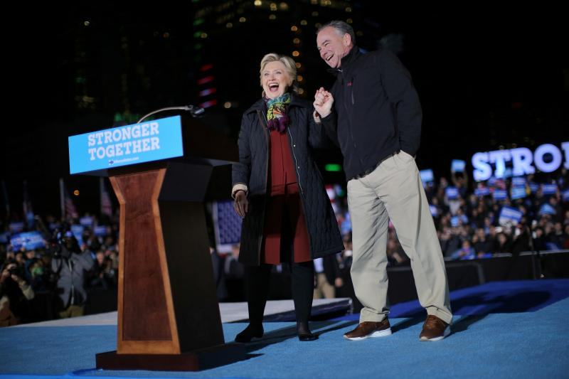 Hillary Clinton and Tim Kaine at a campaign rally in Philadelphia, October 2016.