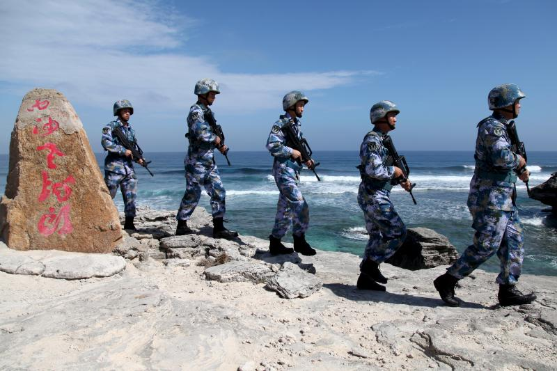 Chinese soldiers on Woody Island in the Paracel Archipelago, January 2016.