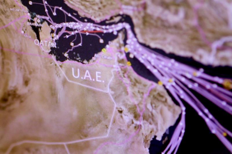 A computer monitor displaying ship traffic around Qatar, June 2017.