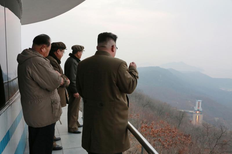 """Kim Jong Un watches a ground test of the """"March 18"""" engine in an undated photo, released March 2017."""