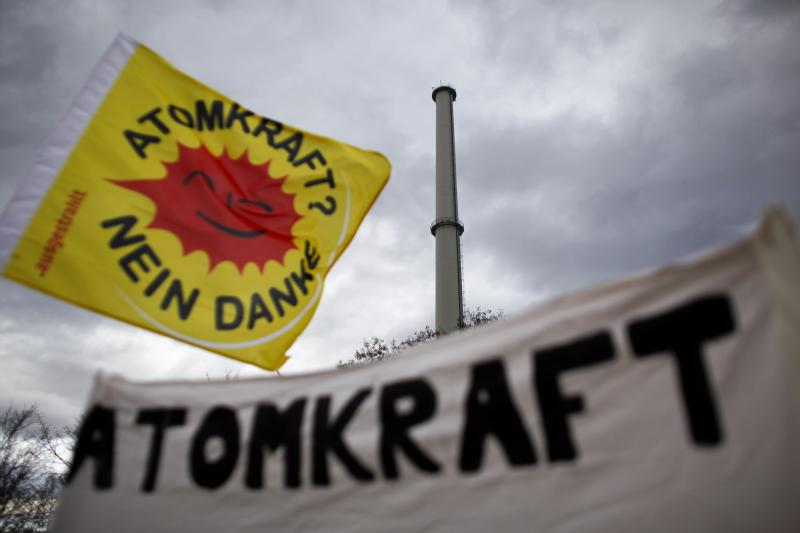 An antinuclear power protest in Neckarwestheim, Germany, March 2010.
