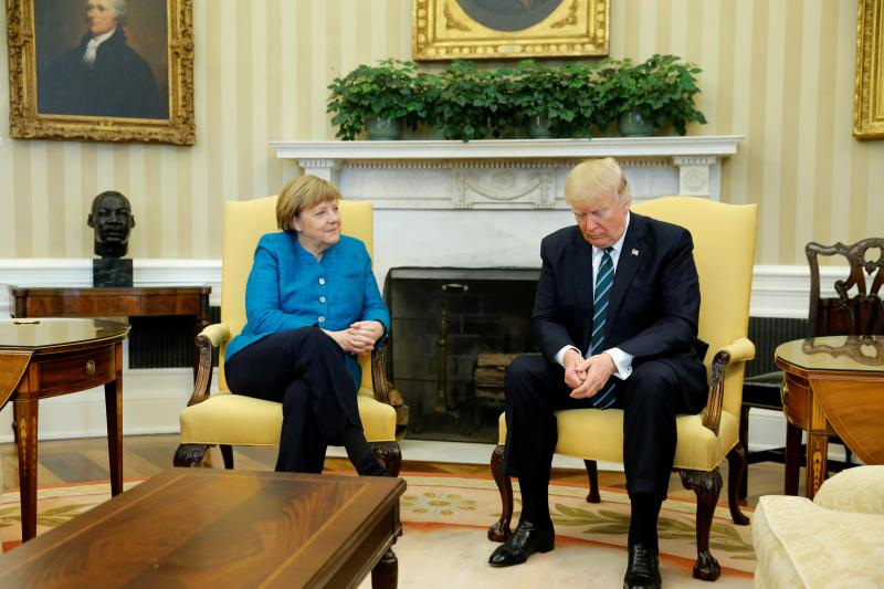 Merkel and Trump in the Oval Office, March 2017.