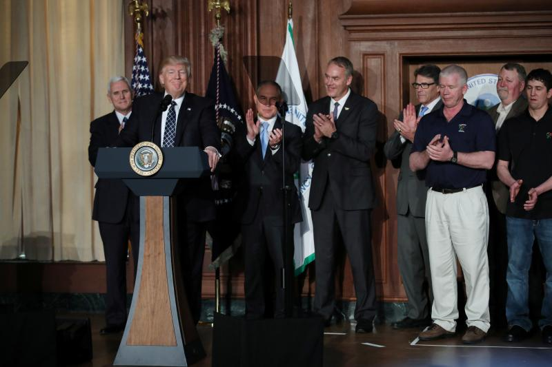 Donald Trump speaks prior to signing an executive order eliminating Obama-era climate regulations, Washington, D.C., March 2017