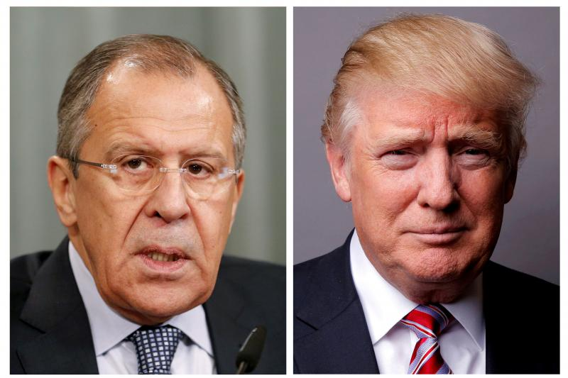 Russian Foreign Minister Sergei Lavrov (L) and Donald Trump, May 2017.