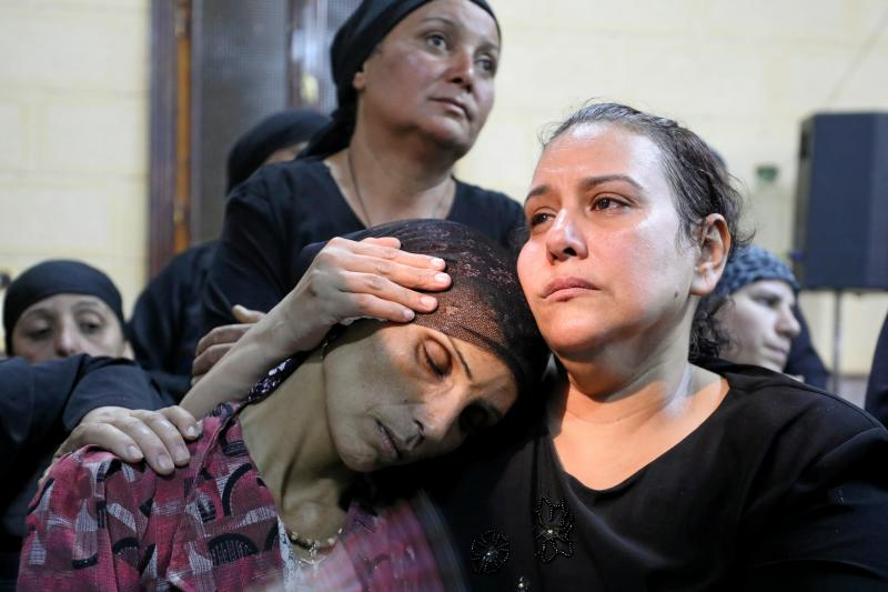 A mother of one of the victims of an attack on a group of Coptic Christians that took place on Friday attends a funeral at the Sacred Family Church in Minya, Egypt, May 2017.