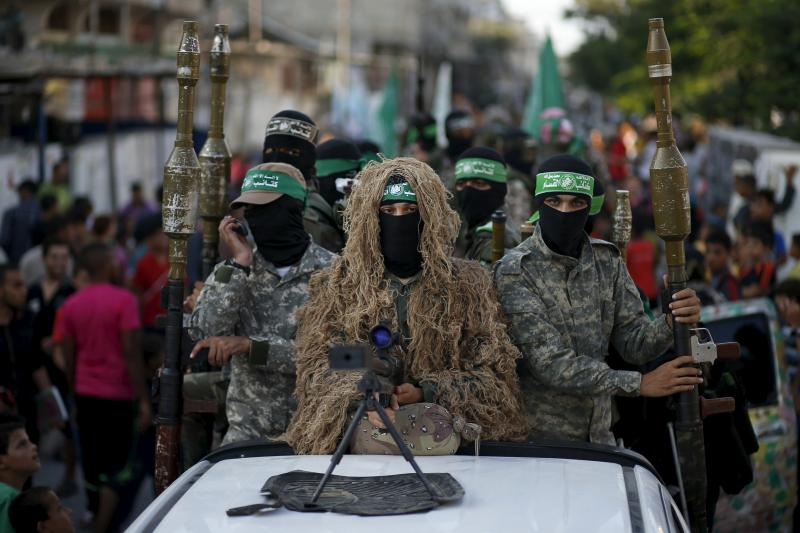 Hamas fighters during a parade in Gaza, August 2015.