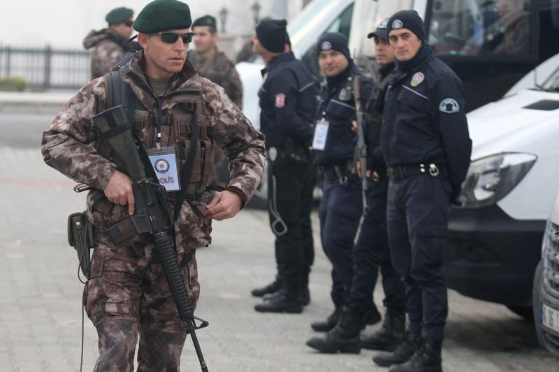 Police special forces standing guard during a trial of Turkish soldiers accused of involvement in the failed July 15 coup attempt, Mugla, Turkey, February 2017.