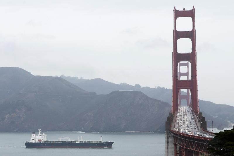 An oil tanker near the Golden Gate Bridge in San Francisco, California, February 2014.