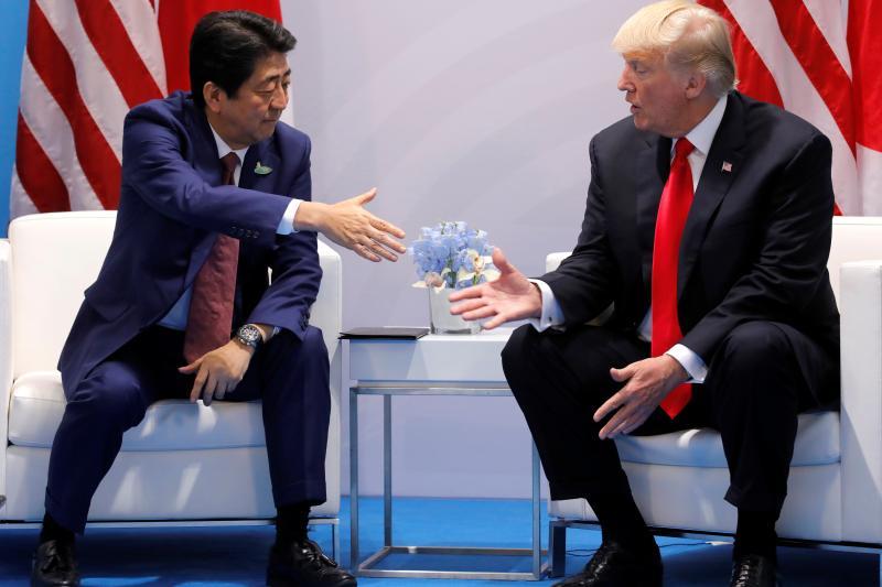 Japanese Prime Minister Shinzo Abe and U.S. President Donald Trump in Hamburg, Germany,  July 2017.