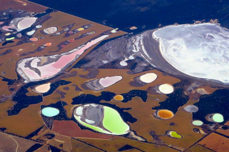 Salt pans and dams on farmland near Perth, Australia, November 2016.