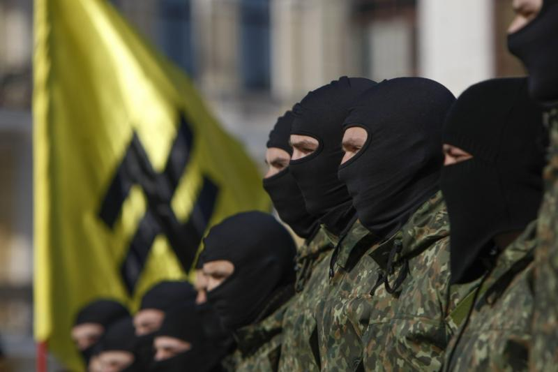 Volunteers for the Azov battalion at a ceremony in Kiev, October 2014.