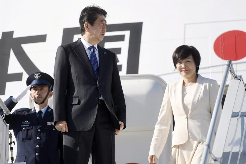 Abe with his wife on a visit to Finland, July 2017.