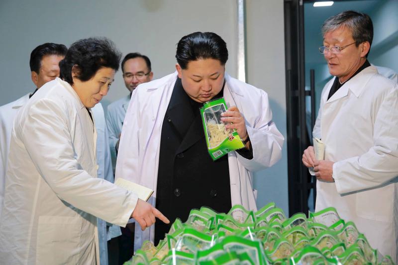 Kim Jong Un visits a foodstuff factory in Pyongyang, January 2016.
