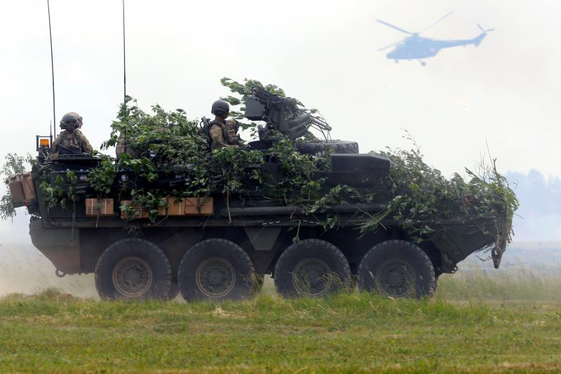 U.S. soldiers in a Stryker armoured fighting vehicle participate in a NATO exercise in Orzysz, Poland, June 2017.