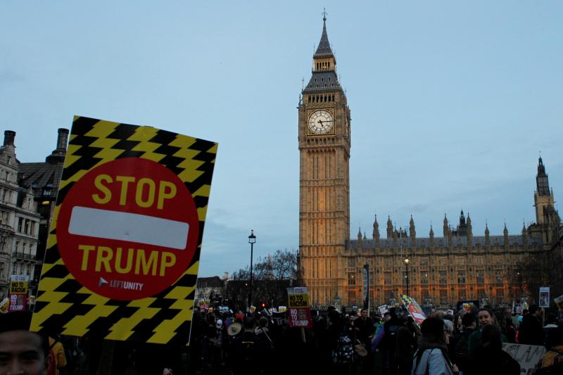 Protestors outside the Palace of Westminster in London, February 2017.