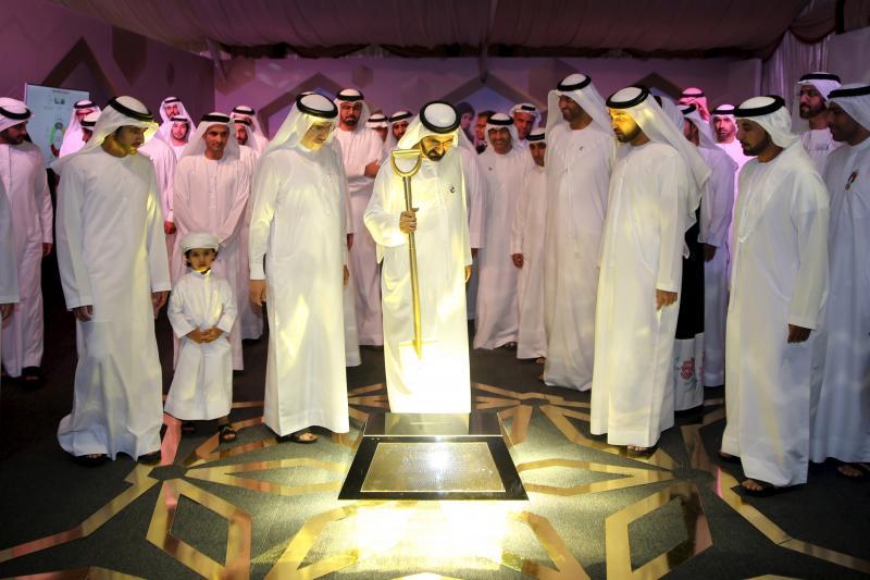 Laying the foundation stone for a solar plant in Dubai, United Arab Emirates, November 2015.