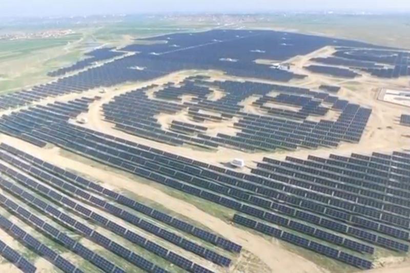A panda-shaped solar plant in Datong, China, July 2017.