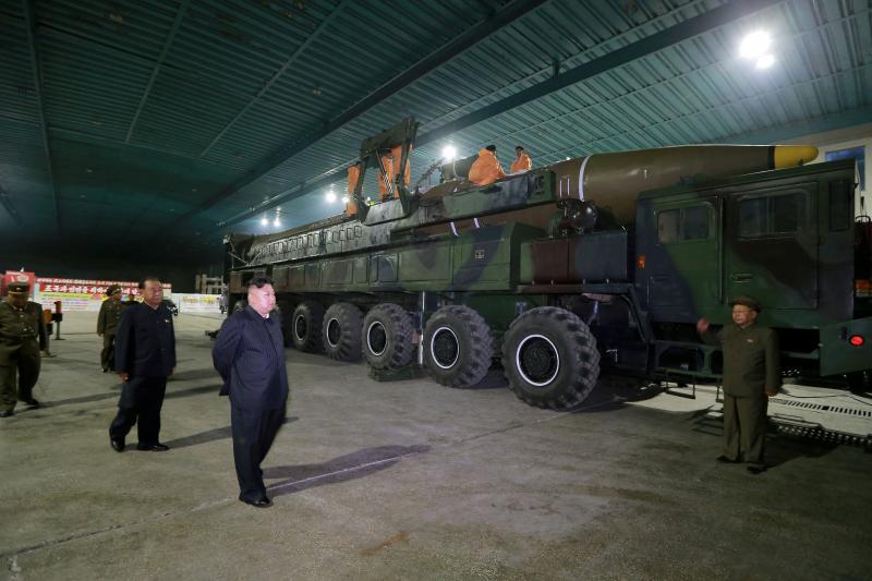 North Korean leader Kim Jong Un inspects the intercontinental ballistic missile Hwasong-14, July 2017.