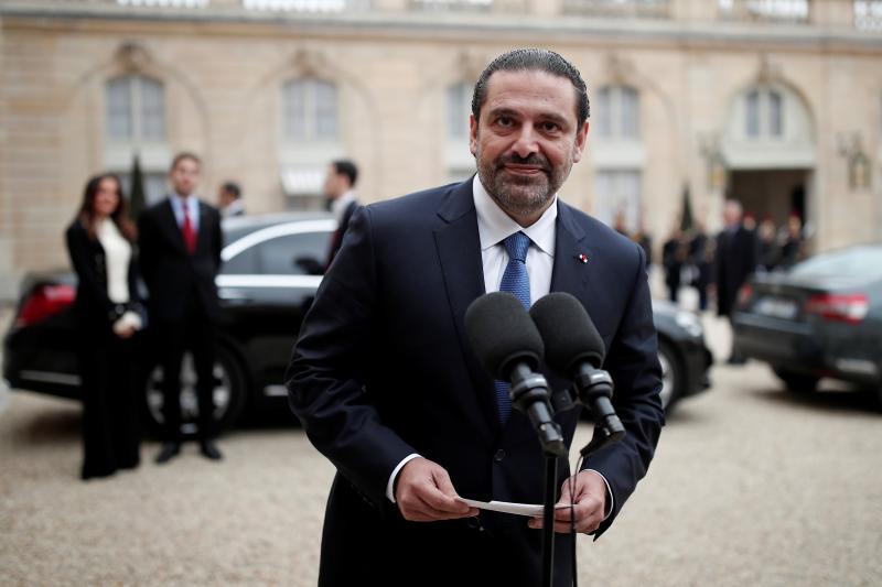 Former Lebanese Prime Minister Saad Hariri at the Élysée Palace in Paris, November 2017.