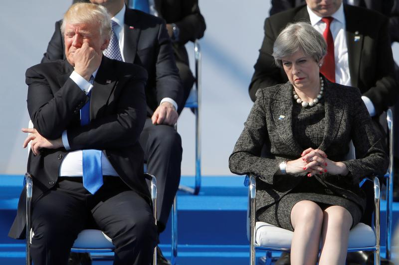 Trump and Theresa May in Brussels, May 2017