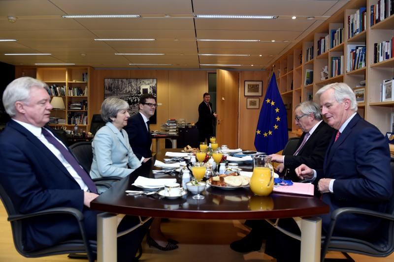British Secretary of State for Exiting the European Union David Davis, British Prime Minister Theresa May, European Commission President Jean-Claude Juncker, and European Union chief Brexit negotiator Michel Barnier meet at the European Commission in Brus