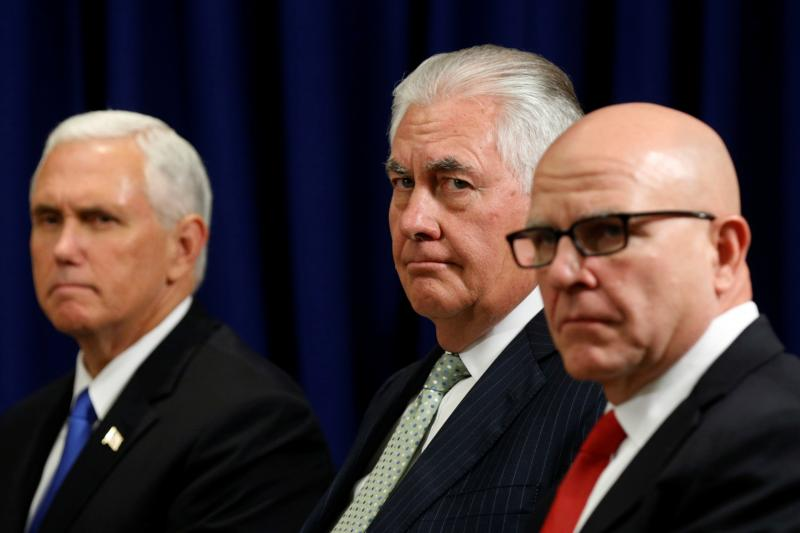Vice President Mike Pence, Secretary of State Rex Tillerson, and National Security Adviser H.R. McMaster in New York, September 2017.