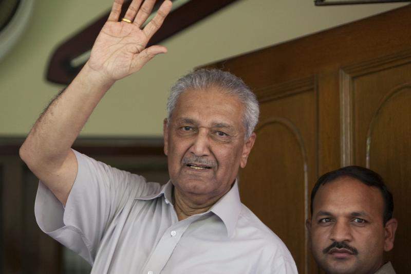 A.Q. Khan waves from his house in Islamabad, August 2009.