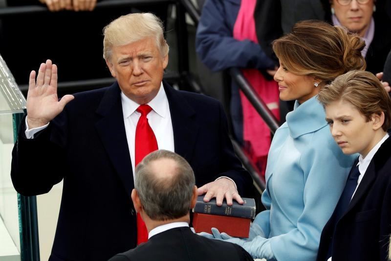 Trump taking the oath of office, January 2017