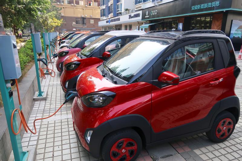 Electric cars charging at a mall in Liuzhou, Guangxi Zhuang Autonomous Region, China, November 2017.