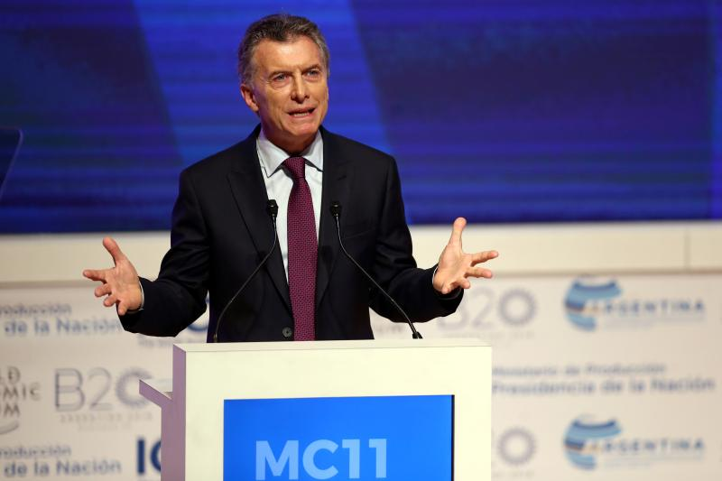 Argentine President Mauricio Macri speaks during the World Trade Organization's ministerial conference in Buenos Aires, Argentina December 2017.