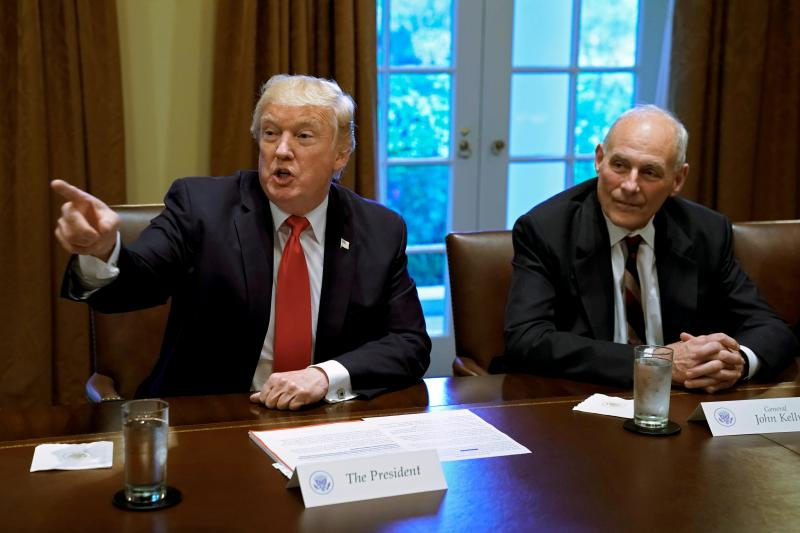 Trump and White House Chief of Staff John Kelly at the White House, January 2018.