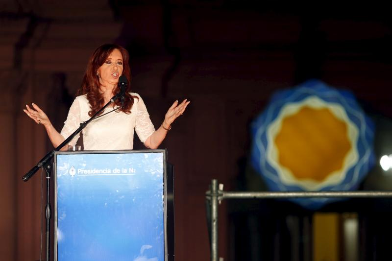 Argentina's President Cristina Fernandez de Kirchner gives her speech to supporters during a rally in front of the Casa Rosada Presidential Palace in Buenos Aires, December 2015.