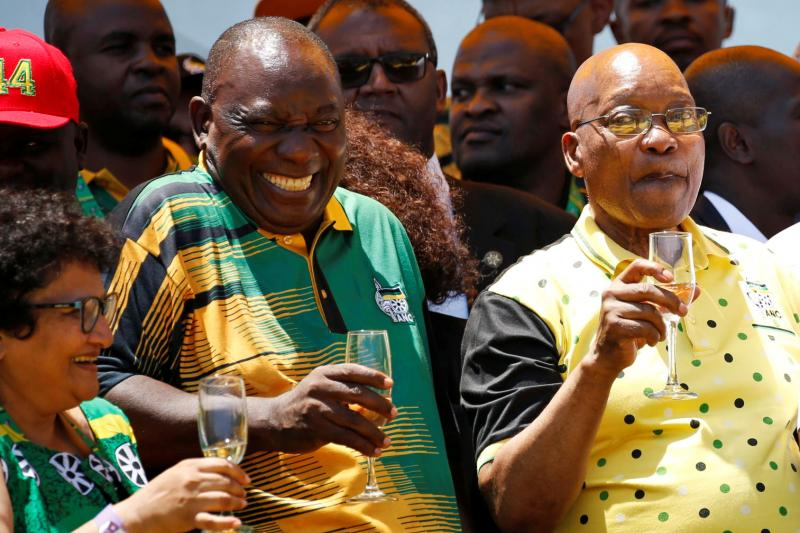 Zuma (R) with ANC President Cyril Ramaphosa in East London, South Africa, January 2018.